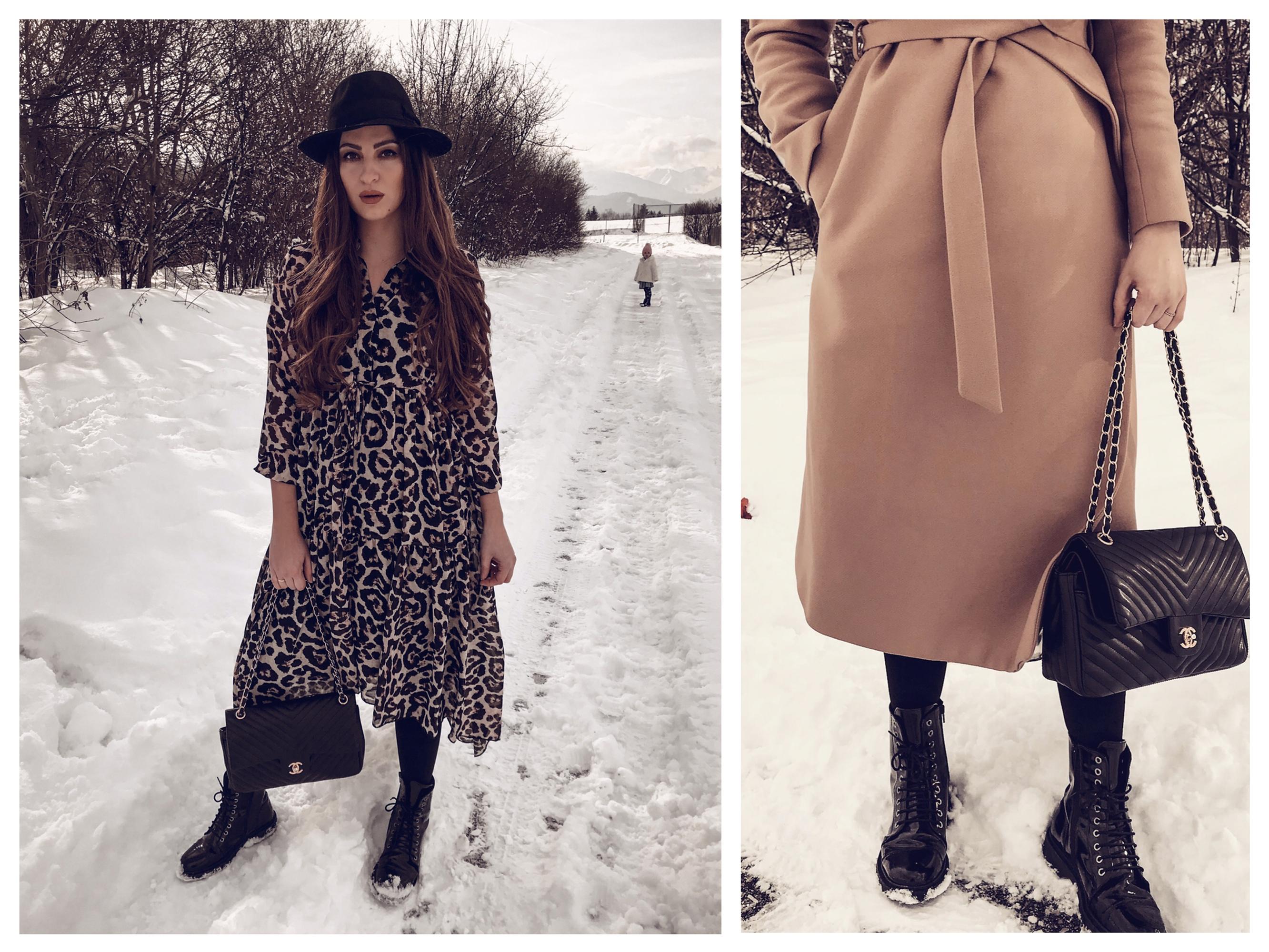 streetstyleoutfitcamelcoat,boots,leodress,chanelbag